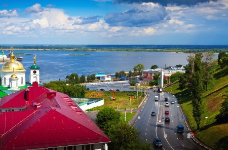 View of Nizhny Novgorod.  Junction of Oka river with Volga River photo