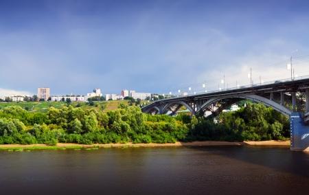 nizhni novgorod: View of Nizhny Novgorod with Kanavinsky bridge through Oka River. Russia