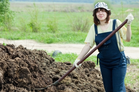 spreads: Female farmer spreads manure at farm