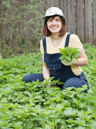 gathers: Donna che raccoglie ortica in giardino di primavera