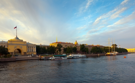 View of St. Petersburg. Admiralty Embankment in morning