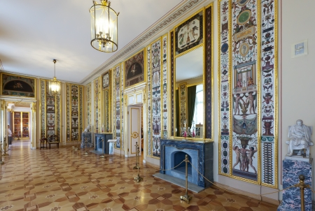 ST.PETERSBURG, RUSSIA - AUGUST 3: Interior of Stroganov Palace in August 3, 2012 in St.Petersburg, Russia.  Palace was built to Rastrellis designs in 1753-1754. Now - a branch of the Russian Museum
