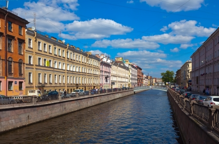 ST.PETERSBURG, RUSSIA - AUGUST 3: Griboyedov Canal in August 3, 2012 in St.Petersburg, Russia. Canal was constructed in 1739 and was called Catherine Canal. Present name it received in 1923
