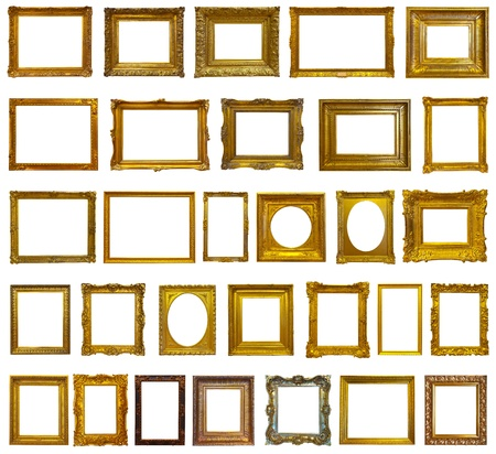 Set van 30 goud fotolijstjes Stockfoto