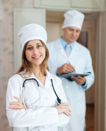 Portrait of two doctors in clinic interior Stock Photo - 15831848