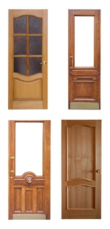 Set of wooden doors. Isolated ver white background photo