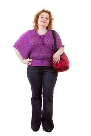 Overweight woman with bag. Isolated over white background