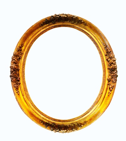 oval gilded frame  Isolated over white background with clipping path photo