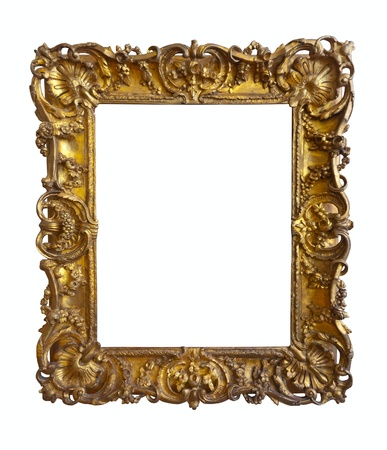old gold picture frame  Isolated over white background with clipping path photo