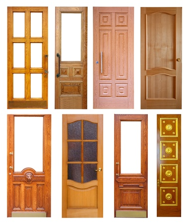 Set of wooden doors  Isolated over white background