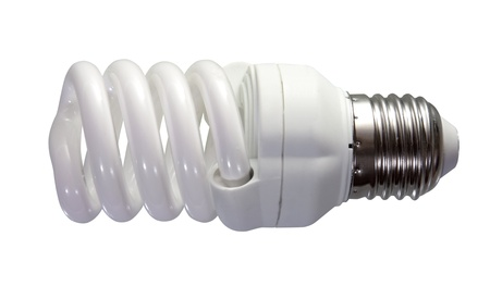 Energy saving fluorescent light bulb. Isolated on white background photo