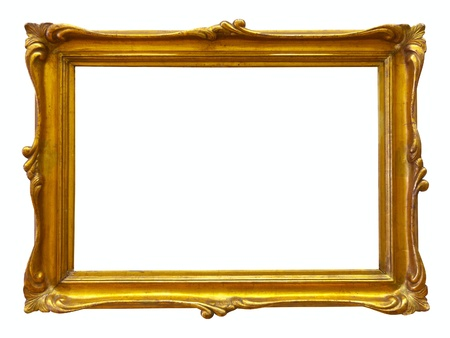 ornate gold frame: gold picture frame. Isolated over white background