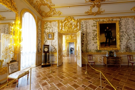 catherine: ST.PETERSBURG, RUSSIA - AUGUST 2: Interior of Catherine Palace in August 2, 2012 in St.Petersburg, Russia. The former imperial palace.  Building is laid in 1717 on orders of Catherine I. Now a museum