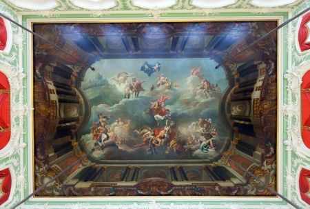 frescoed: ST.PETERSBURG, RUSSIA - AUGUST 3: Ceiling in Stroganov Palace in August 3, 2012 in St.Petersburg, Russia. Palace was built in 1753-1754.  Frescoed ceiling by Giuseppe Valeriani and Antonio Peresinotti