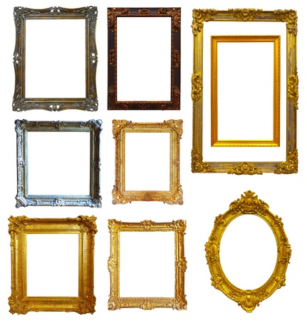 Set of few gold picture frame. Isolated over white background with clipping path