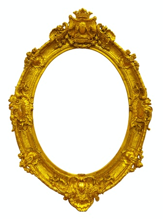 unnatural: oval gold picture frame. Isolated over white background with clipping path Stock Photo