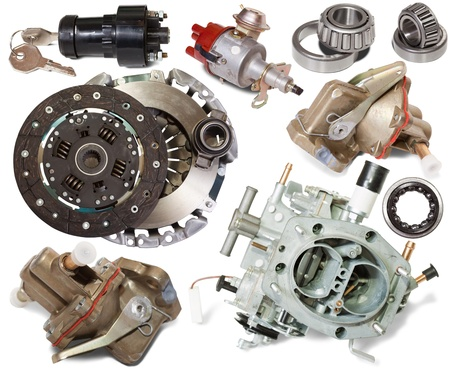 spare parts: Set of automotive spare parts. Isolated on white background Stock Photo