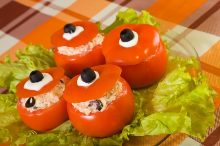 farcie: stuffed tomato salad. See in series stages of cooking of stuffed tomato  Stock Photo