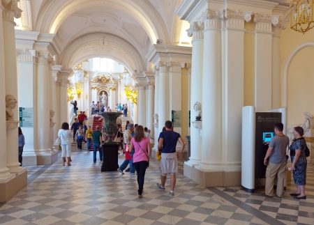 ST.PETERSBURG, RUSSIA - AUGUST 1: Exit in in Hermitage in August 1, 2012 in St.Petersburg, Russia. State Hermitage was founded in 1764. Now it is largest in Russia, one of largest of world