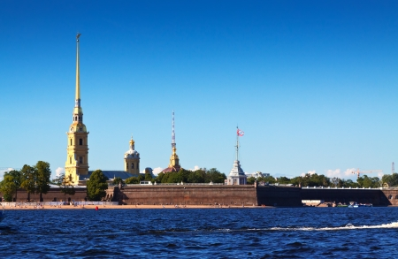 View of St. Petersburg. Peter and Paul Fortress in sunny day photo