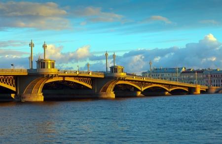 blagoveshchensky: View of St. Petersburg.  Blagoveshchensky (Annunciation) Bridge in morning Editorial