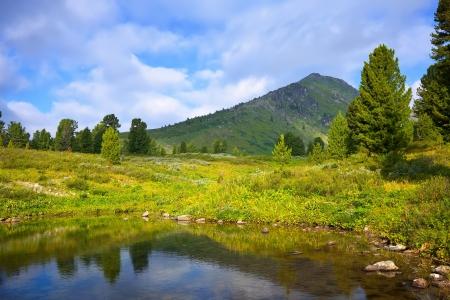 horizontal landscape with mountains lake.   Altai, Suberia