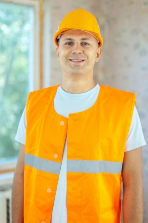 spalpeen: Portrait of builder at construction site