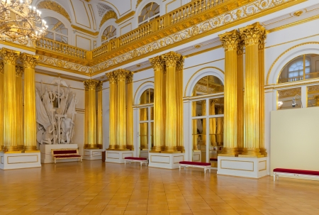 imrepator: ST.PETERSBURG, RUSSIA - AUGUST 1: Interior of Winter Palace in August 1, 2012 in St.Petersburg, Russia. State Hermitage was founded in 1764. Now it is largest in Russia and one of largest art museums Editorial
