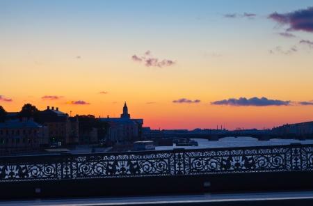 blagoveshchensky: View of St. Petersburg.  Blagoveshchensky (Annunciation) Bridge in morning Stock Photo