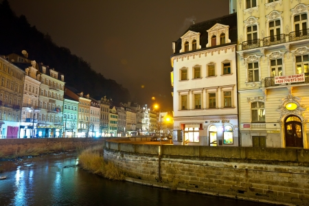 CARLSBAD, CZECHIA - NOVEMBER 23: View of Carlsbad on November 23, 2011 in Carlsbad. Czechia. Town is historically famous for its hot springs (13 main and many smaller springs, and warm-water River)