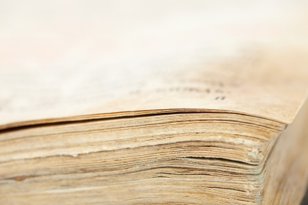 relict: Closeup of pages of  vintage bible book. Shallow DOF