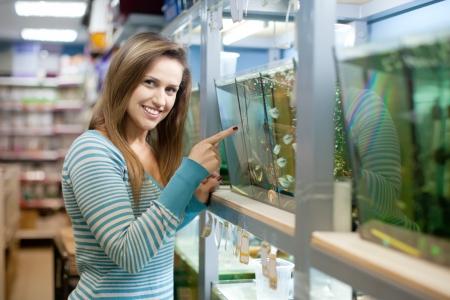 petshop: Woman near aquariums with fishes in petshop