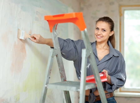 Happy woman paints wall with brush Stock Photo - 16433768
