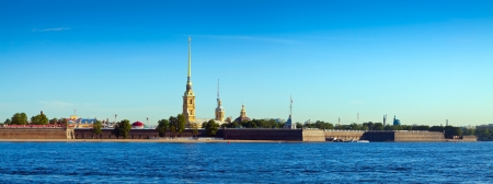 Panorama of St. Petersburg. Peter and Paul Fortress in sunny day photo