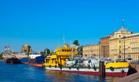 Ships at Lieutenant Schmidt Embankment  at Vasilyevsky Island. St. Petersburg, Russia photo