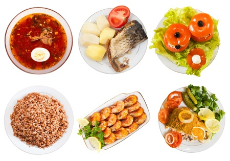 Top view of few plates with food over white background Stock Photo - 16560503