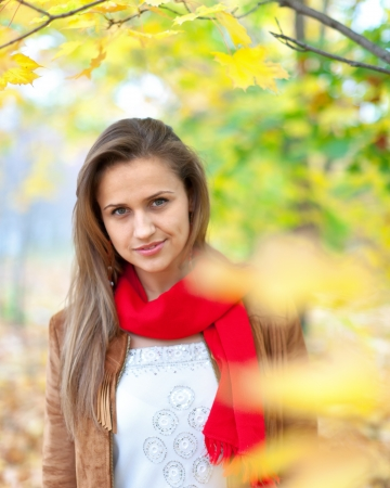 happy seasonable: Portrait of beauty girl in autumn park  Stock Photo