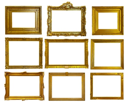 Set of 9 gold picture frames. Isolated over white background  photo