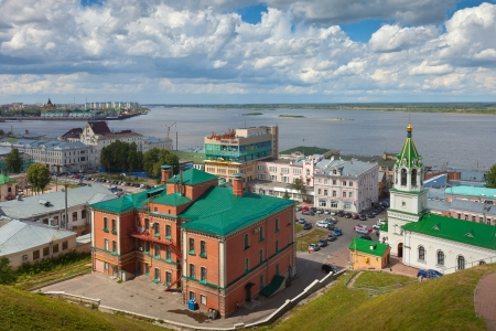 NIZHNY NOVGOROD, RUSSIA - JULY 19: View of historic district in July 19, 2012 in Nizhny Novgorod, Russia. City was founded in 1221, now is fifth largest city in Russia - population of 1,250,615