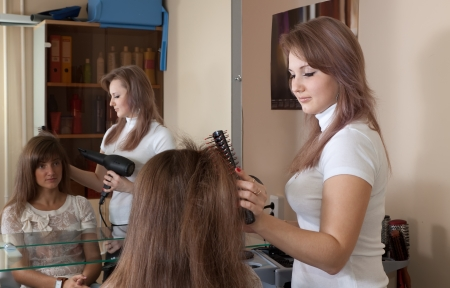 hairtician: Hairdresser combing long-haired girl