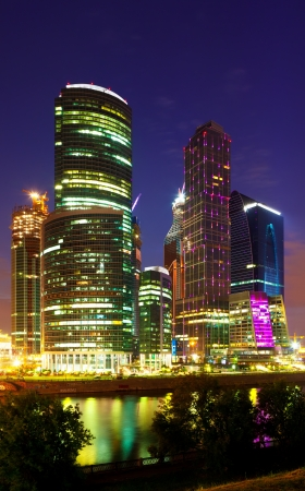 conceived: MOSCOW, RUSSIA - JULE 4: Construction of Moscow International Business Center in Jule 4, 2012 in Moscow, Russia. First conceived project in 1992. Project occupies area of 60 hectares. IBC in night