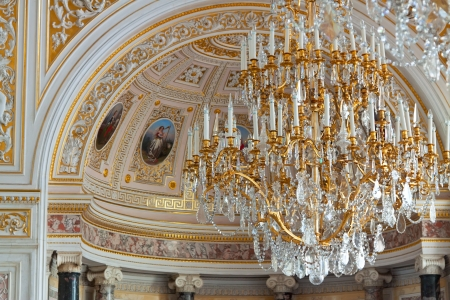 ST.PETERSBURG, RUSSIA - AUGUST 1: Chandelier in Hermitage in August 1, 2012 in St.Petersburg, Russia. State Hermitage was founded in 1764. Now it is largest in Russia and one of largest art museums