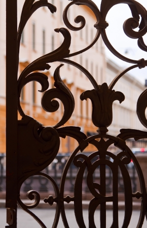 wrought gate of old house in St. Petersburg. Russia Stock Photo - 16862173