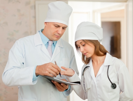Portrait of doctor and nurse in hospital interior Stock Photo - 16709329