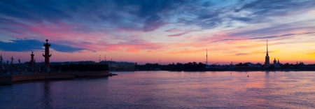 Panoramic view of Neva river in summer dawn. Saint Petersburg, Russia photo