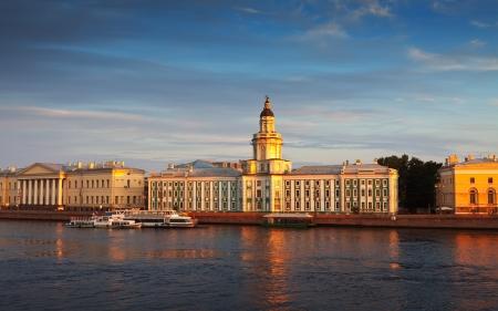 st  petersburg:  view of St. Petersburg. Vasilyevsky Island in summer day Stock Photo
