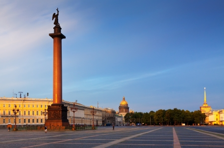 View of Saint Petersburg. The Alexander Column in the Palace Square photo