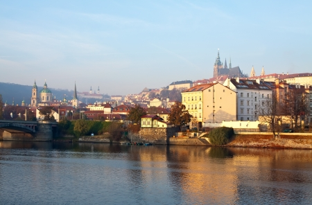 View of Prague from Vltava side, Czechia  photo