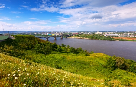 residential settlement: View of Nizhny Novgorod with Molitovsky bridge through Oka River. Russia