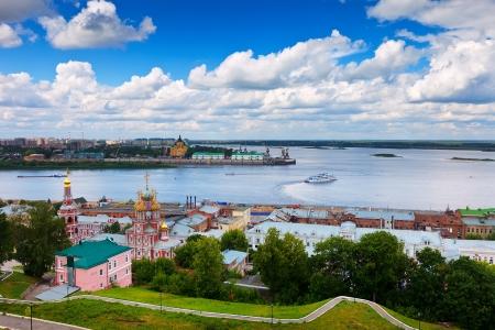 novgorod: Summer view of historic district of Nizhny Novgorod. Russia Stock Photo